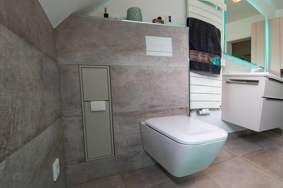 Abbildung Bad mit Glastrennwand Toilette mit Handtuchhalter und edlem Verstauungsraum fuer Toilettenpapier